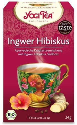 Yogi Tee, Ingwer Hibiskus Ayurvedische Teemischung, Biotee, 17 Teebeutel, heiß & kalt, Zutaten aus kontrolliert ökologischem Anbau, 34g -
