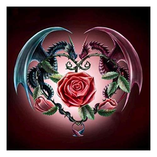 Kit de Peinture Diamant 5D DIY, 5D broderie diamant kit complet,Peinture par numéro Dragons et roses Broderie Point de Croix Art Plastique Arts Décoration Murale pour Salon 30x30cm