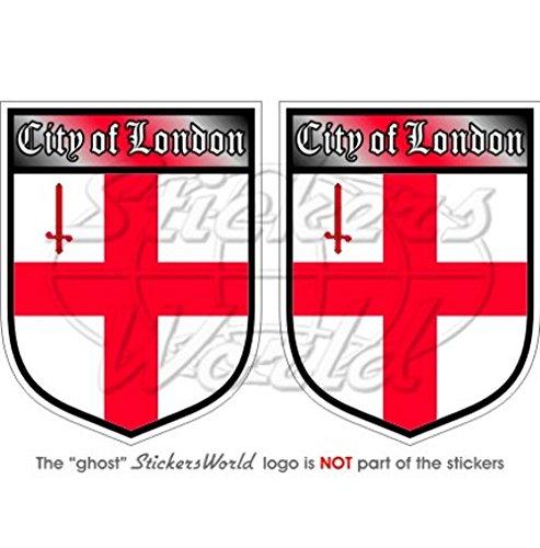 City of London England British Shield UK Großbritannien 75mm (7,6cm) Bumper Sticker, Aufkleber Vinyl X2