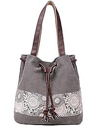 Vox Vintage Damen Schultertasche Henkeltasche Shopper Handtasche Canvas Umhängetasche Shopper mit Kordelzug