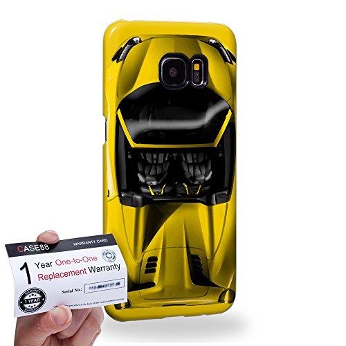 Case88 [Samsung Galaxy S7 Edge] 3D Hülle / Schutzhülle & Garantiekarte - Art Design Yellow Sport Car