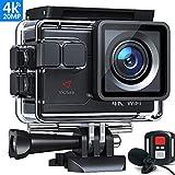 Victure AC700 Action Cam 4K 20MP WiFi Unterwasserkamera wasserdichte 40M Action Helmkamera mit 2.4G Fernbedienung, externem Mikrofon
