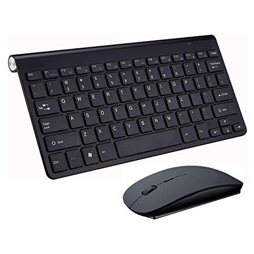 Kabelloses Tastatur und Maus Set,KINGCOO Geräuscharme ultradünne Mini 2.4G Wireless Desktop Kabeltastatur und Einstellbare 800/1200/1600 DPI Mouse Combo fürLaptop Tablet und Smart TV (Schwarz)