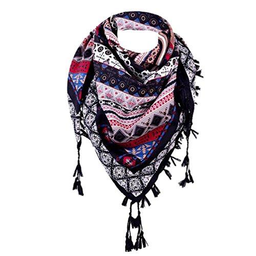 LCLrute Mode-Dame Women Floral Prints Quaste Schal Schal gedruckt Schals (Schwarz) (Schädel Schal Gedruckt)