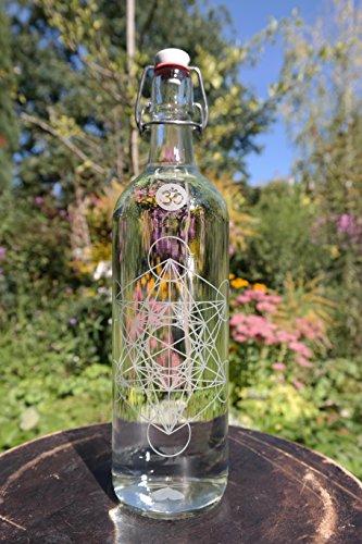 freiglas 1,0L Gourde en verre 'metatrons Cube' ~ Fabriqué en forêt noire ~ 'metatrons Cube'