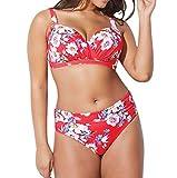 Frauen Plus Size Bikini Damen Bademode BH Druck Gepolsterter BH Split Body Badeanzug Skinny Beachwear Swimming Moonuy