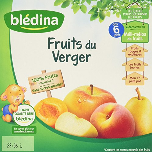 Blédina 100% Fruits du Verger en Coupelles dès 6 Mois 4x100g - Lot de 6