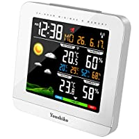 Youshiko Wireless Colour Weather Station (Premium Quality/HD Display) with Radio Controlled Clock (UK Version) Indoor Outdoor Temperature Humidity Max Min with 24 Hour Auto Reset