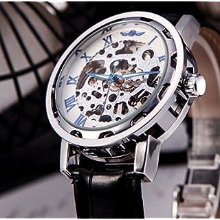 Ablegrow (TM) Winner Classic Uhr mit sichtbarem Uhrwerk, transparentes Ziffernblatt, mechanische Armbanduhr mit Lederband schwarz/silberfarben