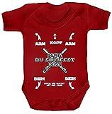 Geschenk zur Geburt Strampler Bio Baumwoll Baby Body kurzarm Jungen Mädchen Junge - Papa Du schaffst das! Möge die Macht, Größe: 3-6 Monate,Red