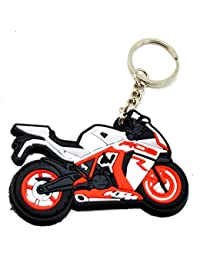 Faynci Premium Quality Silicone KTM RC8 Red White Bike Shape Logo Key Chain For Bike Lover