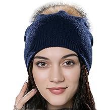44fa7dca7689 URSFUR Chapeau Bonnet à Pompon De Fourrure Bonnet Jersey Tricot Femme Hiver