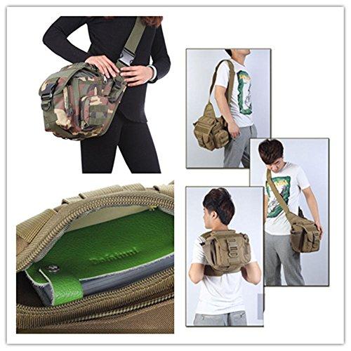 5 All Sling-Rucksack Sling Bag Taschen Taktische Rucksack Wanderrucksack Kleine Rucksäcke Kletterrucksack Outdoor Sports Camouflage Trekkingrucksack als Radfahr Jogging-Rucksack Grün 3