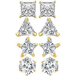 Tiaraz American Diamond White Gold-Plated Stud Earrings For Women - Combo Of 4