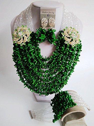 Laanc Mode du Nigeria africain traditionnel de mariage Perles 10couches Corail Ensemble de bijoux-A0005 Grass Green and AB Color