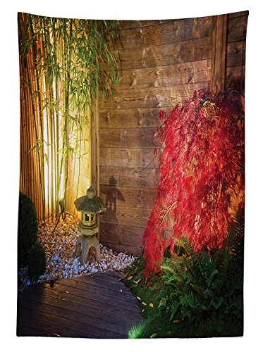 Yeuss Garten Tischdecke Japanische Stein Laterne rot Ahorn Baum in Ein Herbstliches Zen Garden Bamboo Trees, Esszimmer Küche Tisch, rechteckig, Multicolor, 132,1x 177,8cm, 60