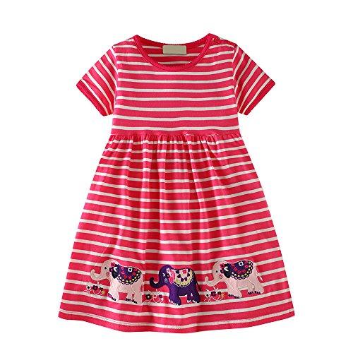 VIKITA Mädchen Sommer Streifen Kurzarm Baumwolle T-Shirt Kleid LB173015 3T (3t-shirt)