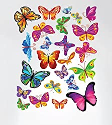 Innovative Stencils 3005 Easy Peel and Stick Colorful Butterflies Nursery Decal Instant Home Decor Wall Sticker