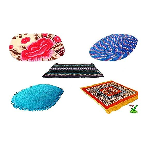 Online Quality Store Door mats Set of 5 Combo Offer for 5 Different Location of a House(Size = 16 * 24 inch, Multi Colors, Cotton Stuff) Offer Price for 7 Days