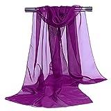 Westeng Frau Schal chiffon Wrap Shawls Dünne Schals Einfarbig Einfache Elegante für Kleider in Verschiedenen Farben - Lila