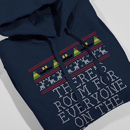Nice List Elf Quote Christmas Knit Women's Hooded Sweatshirt Navy blue