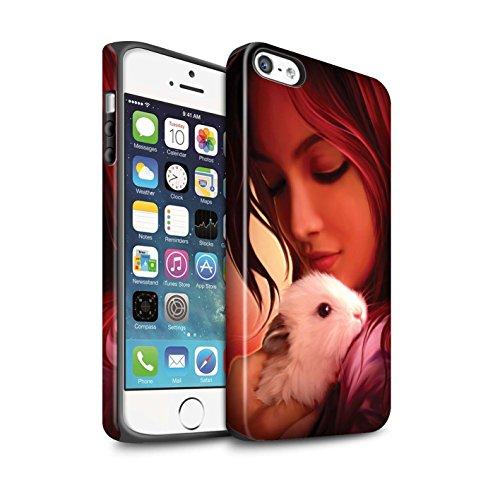 Officiel Elena Dudina Coque / Matte Robuste Antichoc Etui pour Apple iPhone 5/5S / Jacinthe Design / Les Animaux Collection Dans mes Bras/Sûr