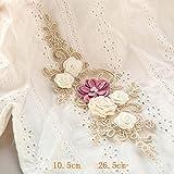 Spitzenbesatz mit 3D-Perlen, zum Aufnähen auf Schnur, Spitzenapplikation, Brautspitze, 1 Stück fuchsia