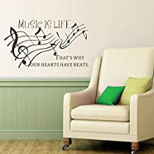 """mairgwall dormitorio decor-music es la vida por eso nuestros corazones tienen beats-music amante decoración jóvenes cabecero de cama adhesivo decorativo, vinilo, Customized-colors, 26""""h x46""""w"""