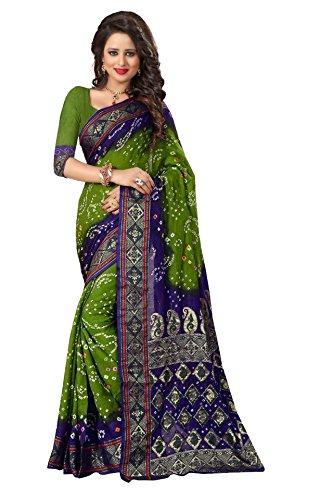 SHREE Bhagalpuri Silk Bandhani Saree (BLUE & GREEN SAREE)