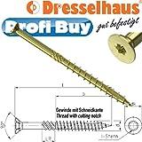 Dresselhaus JD-Plus Konstruktionsschraube 8,0 x 120MM gelb chromatiert | VE: 50 STCK | Senkkopf mit I-Stern, Teilgewinde, Fräsrippen u. Längenprägung m. bauaufsichtlicher Zulassung