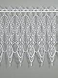 Feiner Spitzen-Scheibenhänger MERIDIA aus Echter Plauener Luftspitzen-Stickerei Scheibengardine in weiß