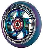 1 x Team Dogz 100mm Regenbogen Wirbel Alu Stund Roller Rad Mit Gemischt 88A PU Gummi Und Neo-chrom Öl Profilloser Jet-Fuel Kern - Blau & lila PU