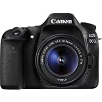 Canon EOS 80D 1263C034 SLR-Digitalkamera (24,2 Megapixel, 7,7 cm (3 Zoll) Display, DIGIC 6 Bildprozessor, NFC und WLAN, Full HD, Kit inkl. EF-S 18-55mm 1:3,5-5,6 IS STM) schwarz