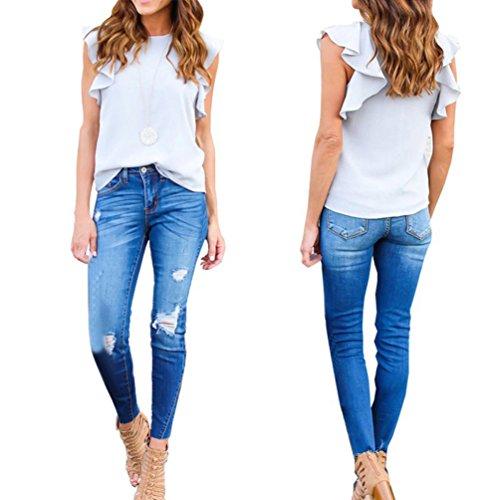 Freestyle Estivo Donna T-Shirt Foglie di Loto Maniche Girocollo Bluse Sottile Camicie Maglietta Shirt Casual Canotte Chiffon Top Grigio
