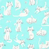Tela verde menta con gatos crema claro de Robert Kaufman Whiskers and Tails
