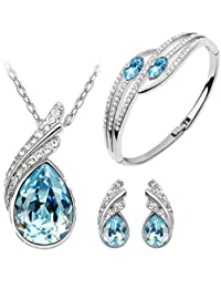 Ocean blue Austrian Crystal Necklace Set Combo with Crystal earrings and elegant crystal bracelet for women