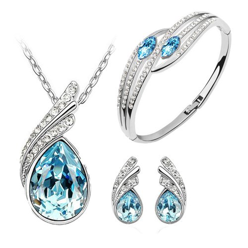 Ocean blue Austrian Crystal Necklace Set Combo with Crystal earrings and elegant crystal bracelet for women  available at amazon for Rs.499