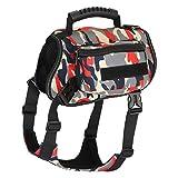Hanko Hunderucksack, verstellbare Wasserdichte Satteltasche Hundegeschirr Rucksack Weste für Reisen Wandern Camping Zelten mittelgroße & große Hunde
