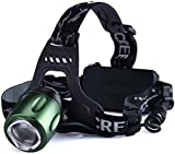 Canwelum Rechargeable LED Head Torch, Bright Cree T6 LED Running Head Torch, Zoom Camping LED Headlamp (A Complete Set with 18650 Li-ion Batteries and Charger) - CE Certified