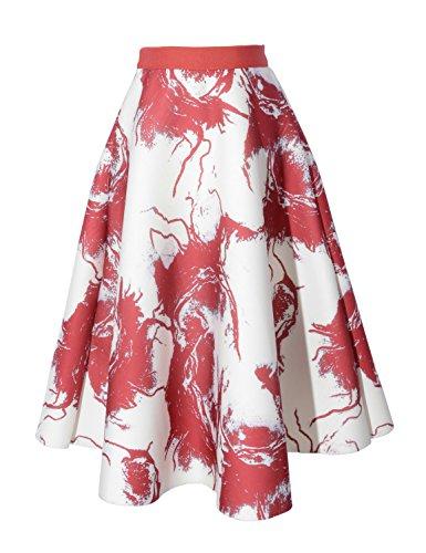 Relaxfeel Taille haute Vintage Tutu A-ligne Mini jupes taille élastique Scuba floraison rouge
