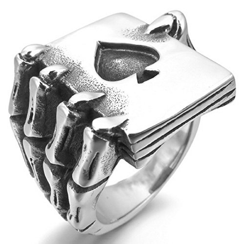 Kalendone Men's Stainless Steel Ring Silver Black Spades Card Poker Skull Hand Ring Gothic Ring US Size 8 Jewelry
