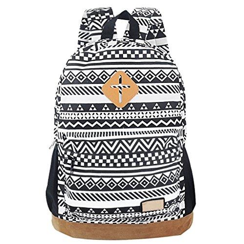Yiuswoy Retro Nationalen Wind Muster Leinwand Taschen Reisetaschen Schultaschen Rucksack Fuer Schule - Farbe E
