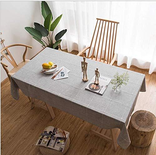 Kristall Rechteckigen Tisch Lampe (QWEASDZX Tischdecke ländlichen Stil Polyester Stoff Tischdecke Leinen Anti-Fleck Tischdecke für Rechteckigen Tisch Home Küche Dekoration Tischdecke 135x135 cm)