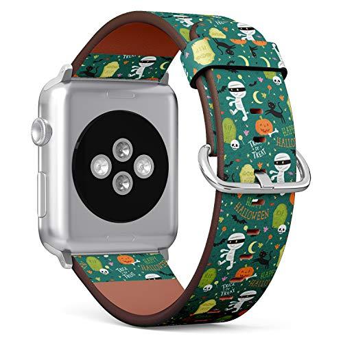 R-Rong kompatibel Watch Armband, Echtes Leder Uhrenarmband f¨¹r Apple Watch Series 4/3/2/1 Sport Edition 42/44mm - Cute Mummy, RIP, Black cat, bat and Pumpkin Halloween Elements
