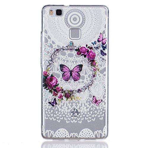 Huawei P9 Lite Hülle , Cozy Hut Kratzfeste Plating TPU Case für Huawei P9 Lite Case Schutzhülle Silikon Crystal Case Durchsichtig für Huawei P9 Lite - Schmetterlings-Kranz