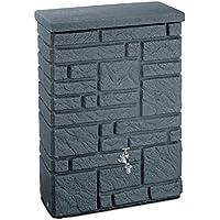 Regentonne Regenspeicher Maurano 300 Liter Farbe black granit aus UV- und witterungsbeständigem Material. Regenfass bzw. Regenwassertonne mit kindersicherem Deckel und hochwertigen Messinganschlüssen