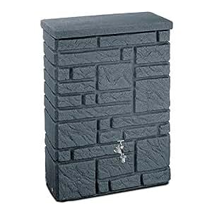 regentonne regenspeicher maurano 300 liter farbe black granit aus uv und witterungsbest ndigem. Black Bedroom Furniture Sets. Home Design Ideas