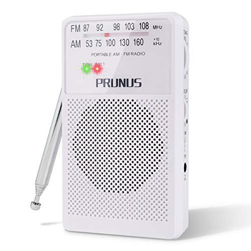 Prunus ANJAN-A-166 Tragbares Taschen UKW FM/AM(MW) DSP Transistor Radio, hervorragender Empfang, Drehregler mit Signalanzeige. Unterstützt austauschbare Batterien (AA) (Weiß)