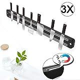 Lot de 3couteaux Barre Aimantée Acier Inoxydable Couteau Support magnétique Barre Aimantée pour Couteaux de Cuisine 33x 3,3x 1,1cm/pièce 280g/pièce