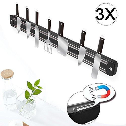 Lot de 3 couteaux Barre Aimantée Acier Inoxydable Couteau Support magnétique Barre Aimantée pour Couteaux de Cuisine 33 x 3,3 x 1,1 cm/pièce 280 g/pièce